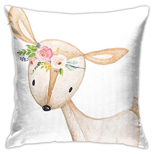 Floral Bohemian Boho Woodland Watercolor Girl Throw Pillow Covers Decorative 18x18 Inch Pillowcase Square Cushion Cases for Home Sofa Bedroom Livingroom
