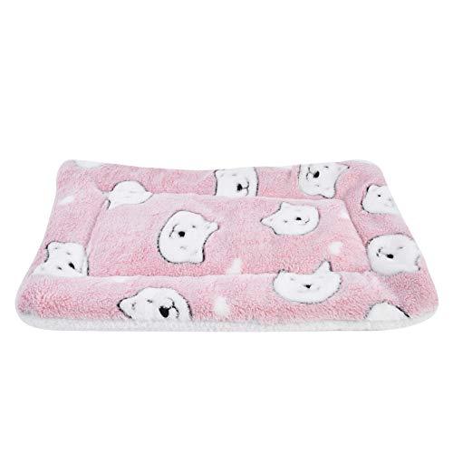 Vejaoo Alfombra Manta para Mascotas Otoño e Invierno Manta Cálida Terciopelo de Franela Perro/Gato Cama XZ006 (79 * 60 CM, Pink Bear)