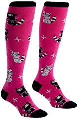Ultra soft, high-quality racoon knee high socks Approximately fits women's shoe size 5-10 Fun and funky animal socks, with reinforced 2-ply heel and toe Our threads are certified by OEKO-TEX Standard 100, which means we leave out harmful chemicals to...