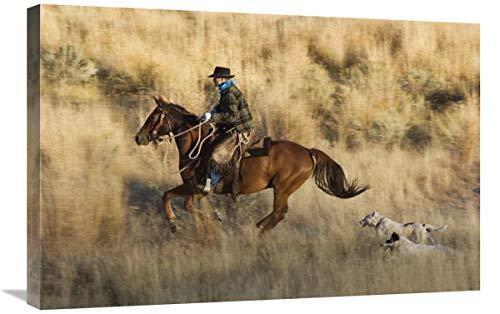 Global Gallery Caballo de Vaquero, seguido por Dos Perros, Oregon Arte Lienzo 76 x 51 cm