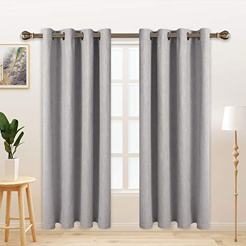 LORDTEX Burlap Linen Look Textured Blackout Curtains for Bedroom with Thermal Insulated Liner - Heavy Thick Grommet Window Drapes for Living Room, 50 x 63 Inch, Silver, Set of 2 Panels