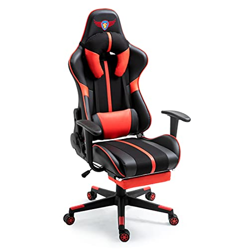 X-VOLSPORT Gaming Chair Video Game Chair Racing Style Computer Chair Ergonomic Office Chair High Back Adjustable Swivel Chair with U-Shaped Headrest,Massage Lumbar Support Footrest Armrests Red