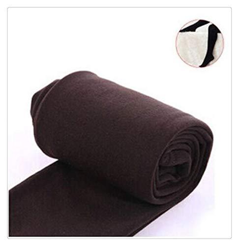 XBECO Leggings gruesos y cálidos, de color caramelo de carbón cepillado, para mujer, de otoño, invierno, con forro polar, para pisotear pies, buena elasticidad (color: café Syle3, tamaño: talla única)