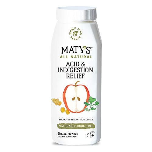 Maty's All Natural Acid & Indigestion Relief – Natural Heartburn Relief Made with Ginger & Turmeric– Liquid, 6 fl oz