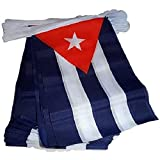 AZ FLAG Guirnalda 4 Metros 20 Banderas de Cuba 15x10cm - Bandera Cubana 10 x 15 cm - BANDERINES