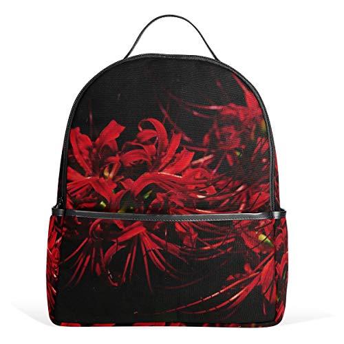 LUPINZ Red Equinox Blumen-Rucksack für Schule, Leichter Rucksack