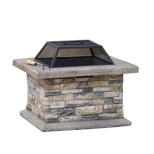 Brasero Exterior Chimenea Exterior de 24 Pulgadas, Calentador doméstico, Foso de Fuego de leña, terraza de Patio Barbacoa Back Bowl (Color : Style1)