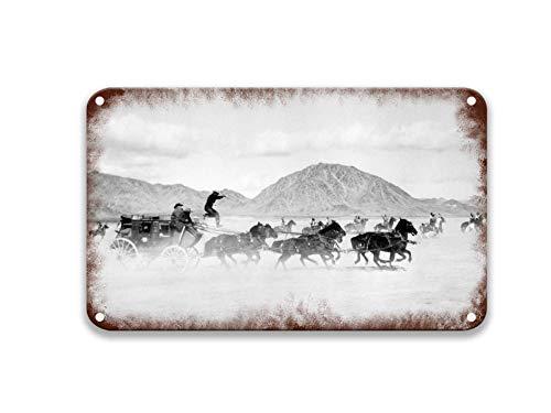 NNHG Stagecoach.png Blechschilder Vintage Filme Poster Teller bemalt für Landhaus Dekor Bauernhaus Home Wand Outdoor 20,3 x 30,5 cm