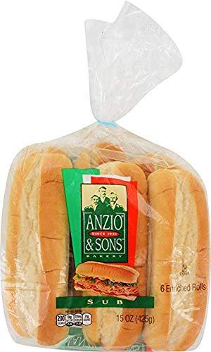 Anzio, Plain Sub Roll, 15 oz - 2 Packs