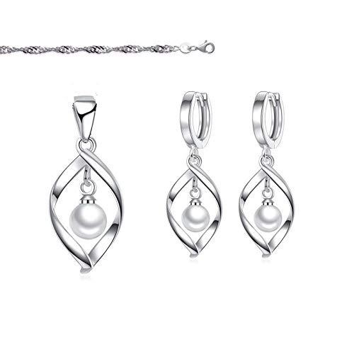 Juego de joyas con forma de ola y perla blanca redonda nacarada, plata fina 925