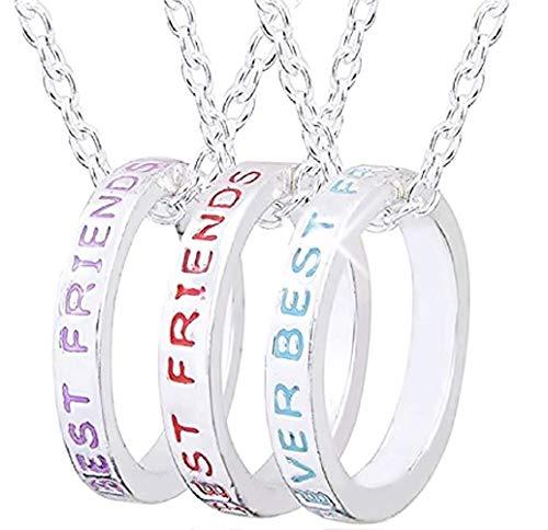 Drie ringen kettingen - beste vrienden - vriendschap - zilveren kleur - cadeau-idee best friends