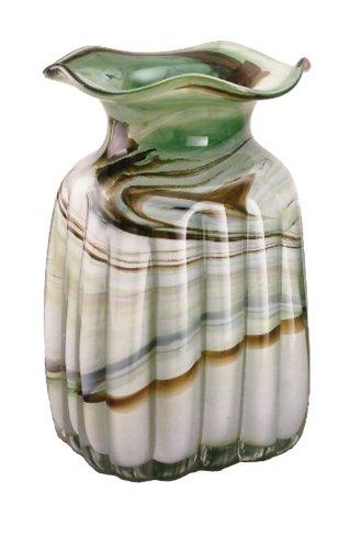 grande jarrón de cristal coloreado, florero de vidrio soplado a boca en tonos verde, beige, blanco de marmol, forma...