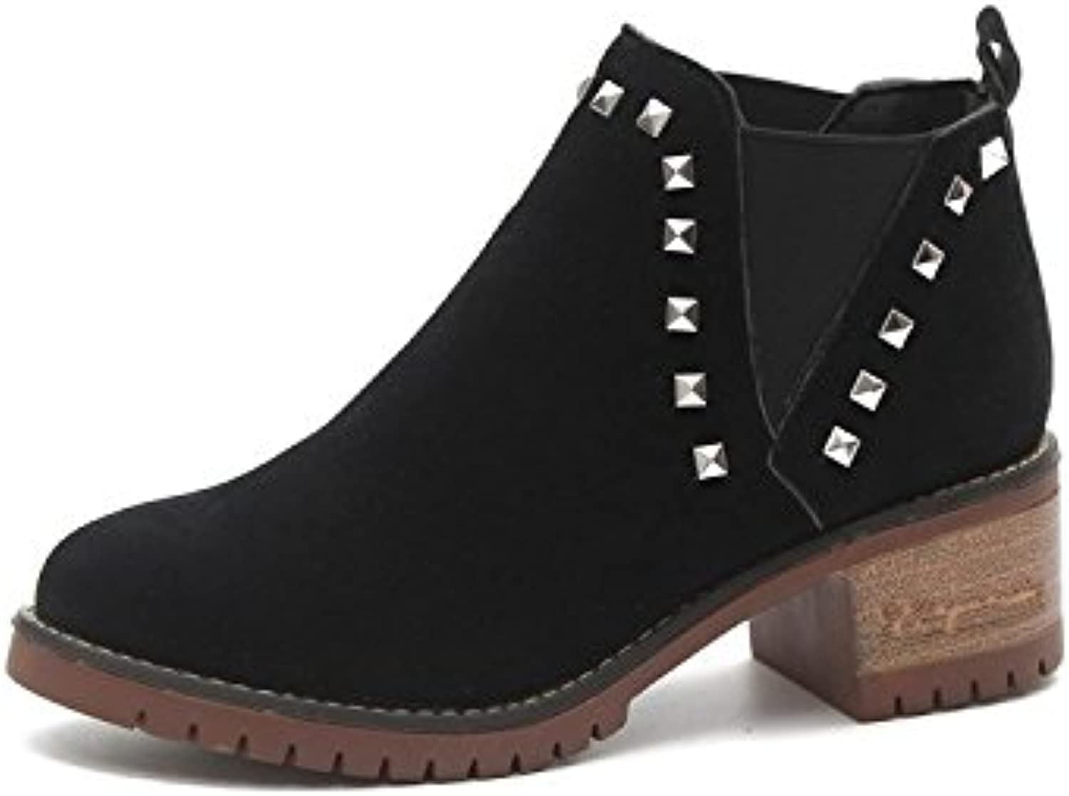 WYMBS Women's Autumn Winter Rough with Round Head Rivet Short Boots Leisure shoes,Black,36
