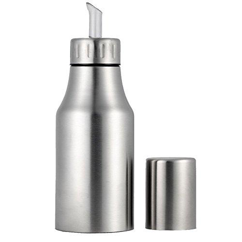 AZX Dispensador de Aceite de Acero Inoxidable, Botella de Aceite y Vinagre,Dispensador de Condimentos Líquidos, Aceiteras,Color Plata (500 ML)