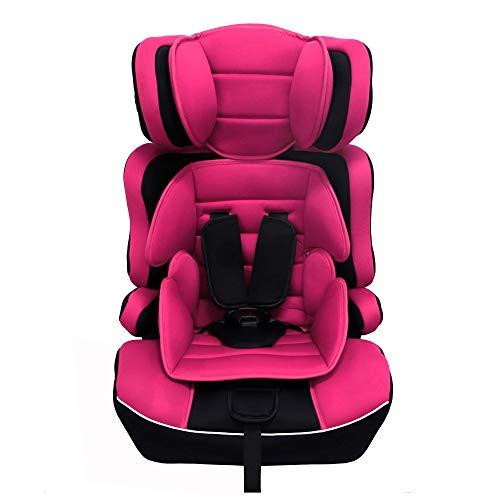 Arebos Kinderautositz | 5-Punkt-Sicherheitsgurt | Gruppe 1+2+3 für 9-36kg | Einstellbare Kopfstütze | ECE R44/04 | Abnehmbare Rückenlehne | Verstellbar (44 x 44 x 66-78 cm) (Pink)