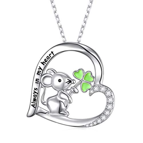 S925 Sterling Silver Animal Jewelry Lovely Mouse Hold Lucky Grass in Heart Pendant Necklace 18 + 2 inches
