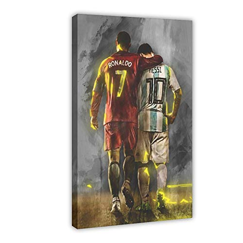 Football Superstar Ronaldo And Messi Sports Poster Canvas Poster Bedroom Decor Sports Landscape Office Room Decor Gift 12×18inch(30×45cm) Frame-style1