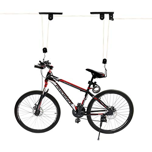 diig Bike Lift Hoist for Garage Storage, Heavy Duty Utility Ceiling Mounted Mountain Bicycle Pulley Rack for Indoor Hanging Cycling(White)