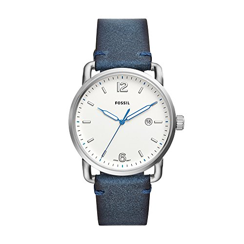 Fossil Men's The Commuter Stainless Steel Analog-Quartz Watch with Leather Calfskin Strap, Blue, 22 (Model: FS5432)