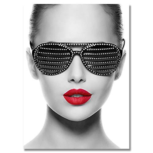 Blanriguelo Impresiones en Lienzo Labio Rojo Gafas de Sol Mujer Pintura Cuadro Arte de la Pared Carteles no Tejidos Sala de Estar Dormitorio Decoración del hogar 19.6'x27.5 (50x70cm) Sin Marco
