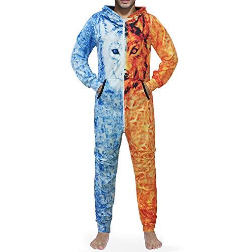 Morbuy Herren Jumpsuit Schlafanzug, Kapuzenpullover Strampelanzug 3D Printed Onepiece Sweatshirt Männer Strampler Weich Nachtwäsche Fitness Bekleidung Overall (L, Eisfeuer Wolf)