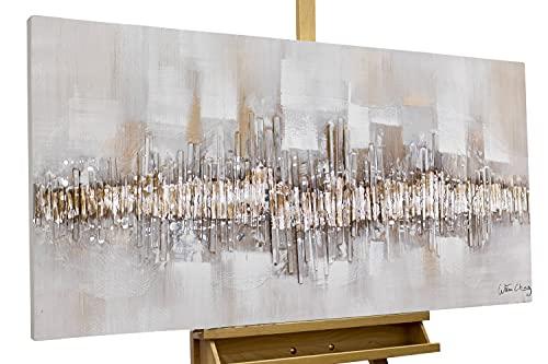 Kunstloft® Cuadro en acrílico 'City Outline' 120x60cm   Original Pintura XXL Pintado a Mano sobre Lienzo   Abstracto Gris Beis   Cuadro acrílico de Arte Moderno con Marco