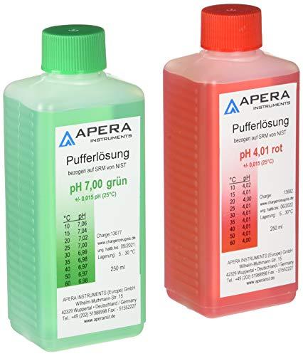 apera Instruments PH Calibración Soluciones Juego 4.0.1/7.00250ml cada uno, 1)