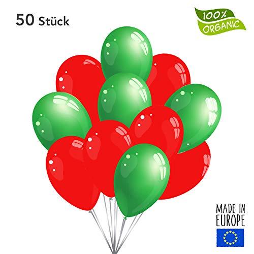 50 Premium Luftballons in Rot/Grün - Made in EU - 100% Naturlatex somit 100% giftfrei und 100% biologisch abbaubar - Geburtstag Party Hochzeit Silvester Karneval - für Helium geeignet - twist4®