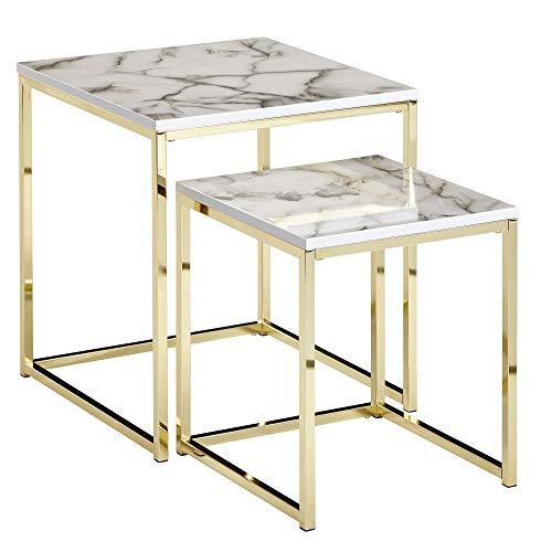 FineBuy Design Beistelltisch 2er Set Weiß Marmor Optik Eckig | Couchtisch 2-teilig Tischgestell Metall Gold | Kleine Wohnzimmertische | Moderne Satztische Quadratisch