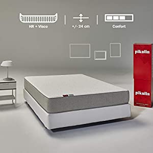 Pikolin Leah, colchón viscoelástico y espuma HR gama alta, firmeza alta, confort visco, calidad máxima, protección higiénica total, 90x190