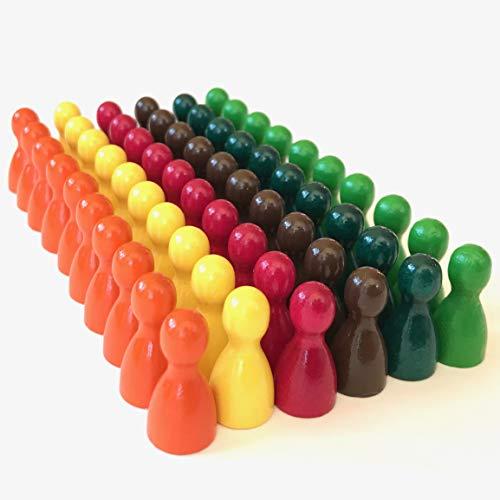 Juego de 60 figuras de madera para juegos de mesa, mezcla de colores, colores especiales, cono de media talla 12/24 mm, color amarillo, naranja, rojo oscuro, verde claro, verde oscuro, marrón