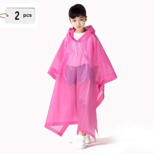 Axroad Mall 2 Pack Enfants Imperméable EVA Rain Poncho Veste Voyage Mode Portable Imperméable Réutilisable for Les Garçons Et Les Filles Ages 6-12 (Color : Blue)