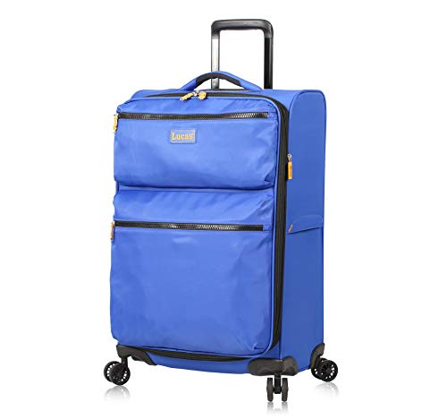 Lucas Designer Luggage Collection - Expandable 28 Inch Softside Bag - Durable Large Ultra Lightweight Checked Suitcase with 8-Rolling Spinner Wheels (Royal Blue)