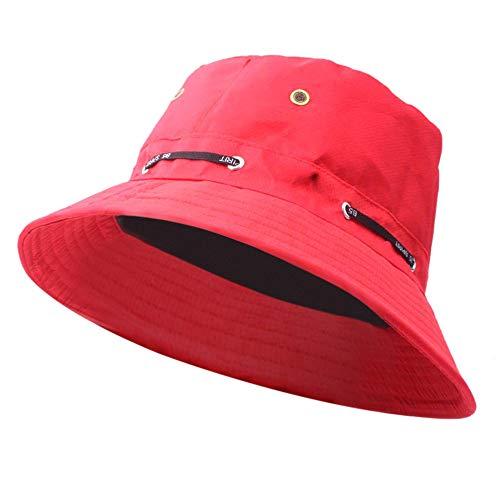 DOLDOA Hut Damen Sommer,Erwachsene männer und Frauen Cap Mode Cap Outdoor Sonnenhut Reise lässig Topf Eimer Hut (Rot)
