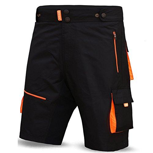 Brisk MTB Shorts, Coolamax Gepolsterte, herausnehmbare Innenfutter, Free Style Erwachsene Größe (schwarz/orange, klein)