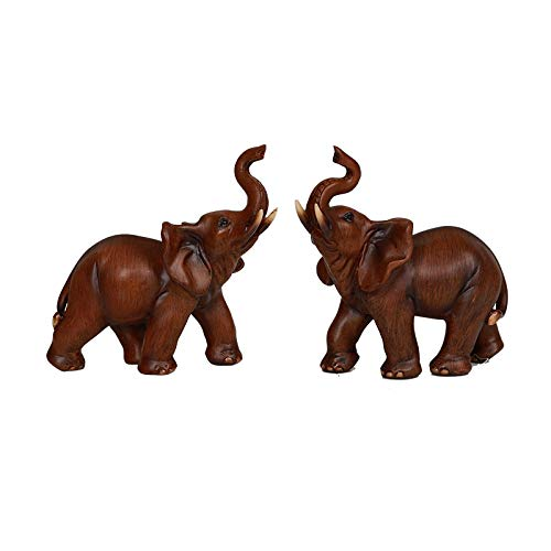 Pacific Giftware Wood Like Elephant Set of 2 Lucky...