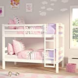Bunk Beds For Kids Bunk Bed 3 Feet Double Bed Solid White Wooden Bunk Bed Frame Bedroom Home Sleep For Kids/Adult Children Bed Frame With Stairs (3 ft White Double Bed)