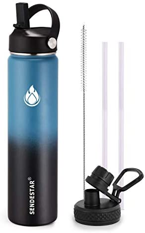 SENDESTAR Water Bottle 24oz Double Wall Vacuum Insulated Leak Proof Stainless Steel Sports Water product image