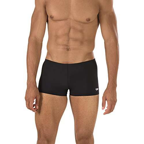 Speedo Men's Solid Square Leg Endurance+ Long-Lasting No-Pinch Swimsuit, Black, 34