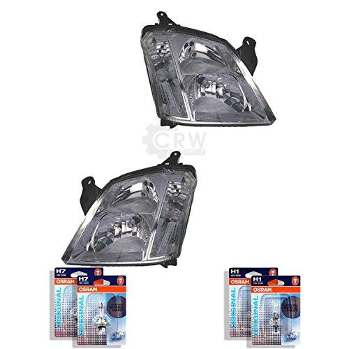 QR-Parts 69596508 Set Scheinwerfer links 1250924 + Scheinwerfer rechts 1251062 + OSRAM H1 Original 64150-01B (2-Stück) + H7 CLASSIC 64210CLC (2-Stück)