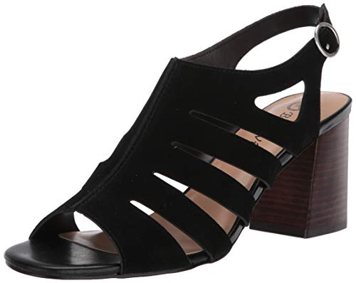 Bella Vita Women's Fashion Casual Heeled Sandal, Black Suede Leather, 8.5 Narrow