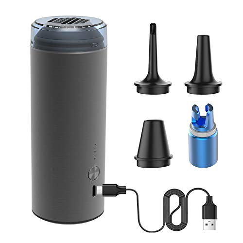 cjc 50W Electric Air Pump for Pool Inflatables, 5000pa Quick-Fill Air Mattress Pump, 4000mAh Rechargeable Battery Powered Cordless Portable Air Pump with 4 Different Size Nozzles