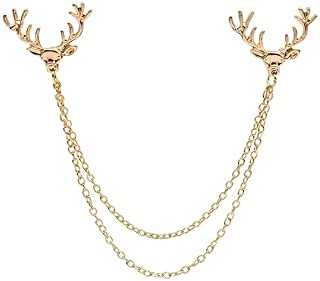 JOYID Double Deer Head Brooch Tassels Link Chains Collar Clip Pins Brooches for Men Boys