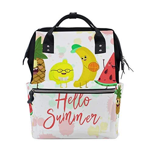 Alinlo Hello Summer mignon Fruits Motif ananas momie Diaper Sacs Fourre-tout Sacs Grande capacité multifonction Sac à dos pour voyage