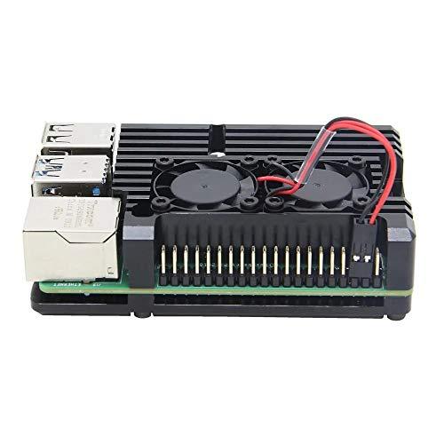 ILS Armor Gehäuse aus Aluminiumlegierung, Schutzhülle aus Metall mit Dual-Lüfter, nur für Raspberry Pi 4 Model B