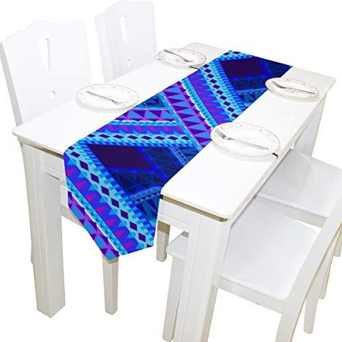 Blau Tartan Plaid Muster Stil Kommode Schal Tuch Abdeckung Tischläufer Tischdecke Tischset Küche Esszimmer Wohnzimmer Home Hochzeitsbankett Dekor Indoor 13x90 Zoll