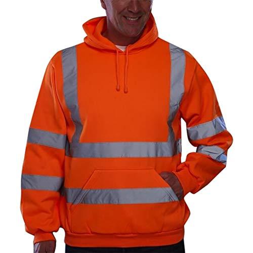Skxinn Herren Hohe Sichtbarkeit Kapuzenpullover Workwear Warnschutz Hoodie Reflektierend Sicherheitsjacke Atmungsaktiv Langarm Arbeitskleidung Kapuzenpulli Sweatshirt Top(Z3-Orange,XX-Large)
