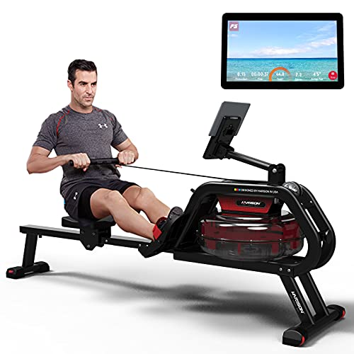 HARISON Water Rowing Machine Foldable with LCD Monitor for Home Use 300 lbs Capacity, Water Rower Machine with Infinite Resistance Indoor Fitness Exercise Sports Equipment