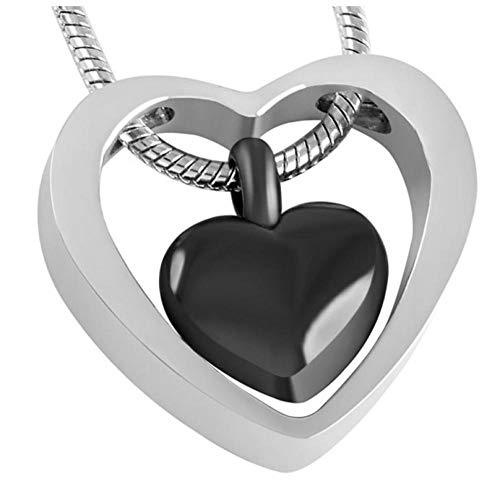 Wxcvz Collar para Cenizas Collar De Urna De Recuerdo Pequeño Kit De Relleno De Embudo con Colgante De Cenizas De Cremación De Doble Corazón
