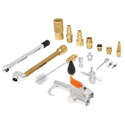TRUPER Juego de 18 piezas pistola y accesorios 1/4 NPT para compresores de aire comprimido y neumática